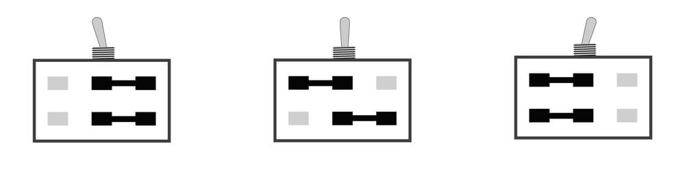 2-poliger Umschalter ( ON/ON/ON)