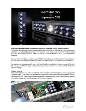 Produktvergleich mpressor rack und mpressor 500 (En)