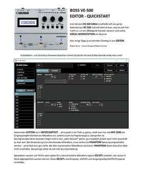 VE-500 Editor Schnelleinstieg