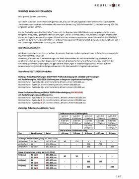 Reutlinger Kundeninformation / Arbeitslasten