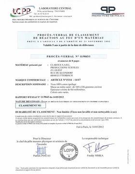 M1 Fire Resistance Certificate France