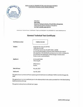 Fire protection certificate B1 for FP Screen