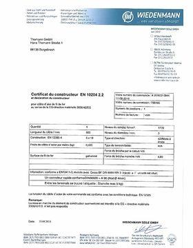 Certificat du constructeur