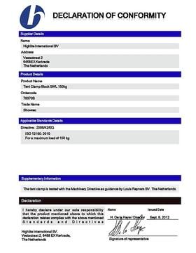 Certificate of Confirmity