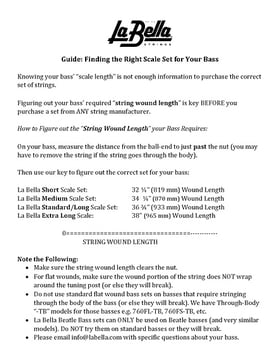 La Bella Bass String Guide