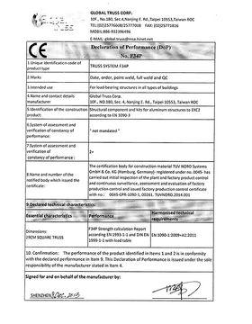 CE / Declaration of Performance