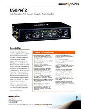 Sound devices usbpre 2 user manual | 27 pages.