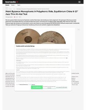 "Meinl Monophonic & Polyphonic Ride, Vintage China & 15"" Jazz Hi-Hat"