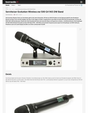 Sennheiser Evolution Wireless ew 500 G4 965 DW Band