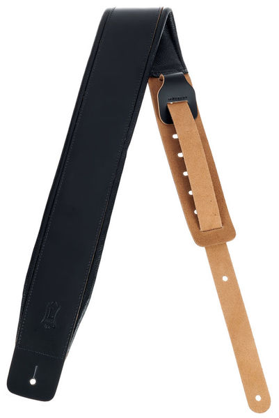 "Levys Padded Leather Strap 3"" BK"
