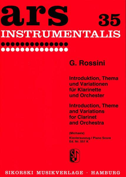Sikorski Musikverlage Rossini Introduction Clarinet