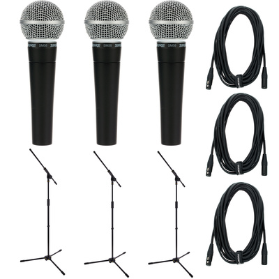 Shure SM 58 Triple stand+cable Set