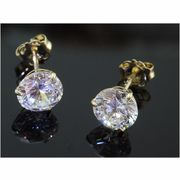 Rockys Stud Earrings Gold Gem 5mm