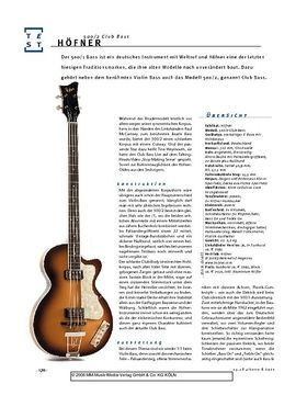 Höfner 500/2 Club Bass, Hollowbody-Bass