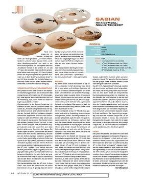 Sabian HHX Cymbal-Neuheiten 2007