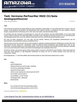 Test: Vermona, PerFourMer MKII, Analog-Synthesizer