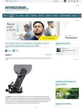 Top News: sE Electronics, sE2200a II, Multi Pattern Condenser Microphone