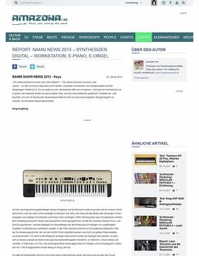 Report: Namm News 2013 - Synthesizer Digital - Workstation, E-Piano, E-Orgel