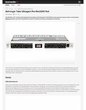 Behringer Tube Ultragain Pro Mic2200 Test