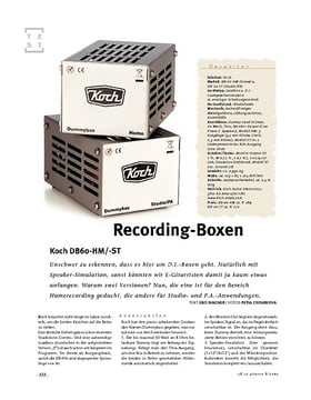 Koch DB60-HM/-ST, Recording-D.I.-Boxen
