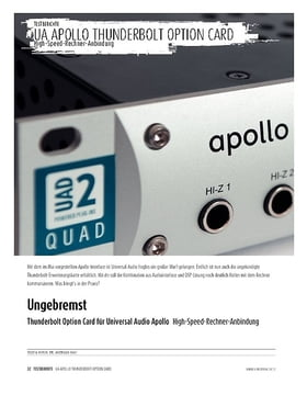 Thunderbolt Option Card für Universal Audio Apollo - High-Speed-Rechner-Anbindung