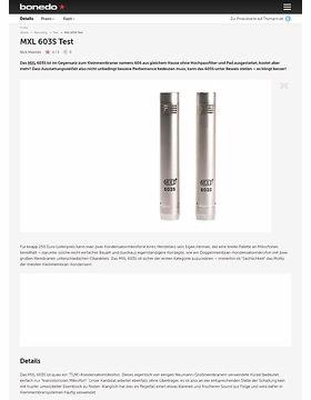 MXL 603S Test
