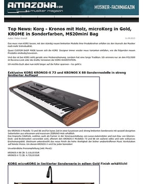 Top News: Korg - Kronos mit Holz, microKorg in Gold, KROME in Sonderfarben, MS20mini Bag
