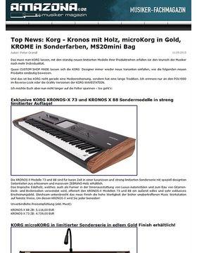 Top News: Korg - Kronos mit Holz, microKorg in Gold, KROME in Sonderfarben, MS20mini Bag