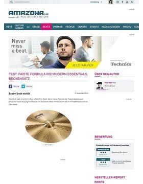 Test: PAISTE Formula 602 Modern Essentials, Beckensatz