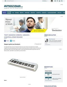 Test: Samson Carbon, USB/MIDI-Controllerkeyboard