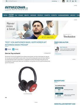 Test: Vox amPhones Bass, Kopfhörer mit internem Bass Preamp