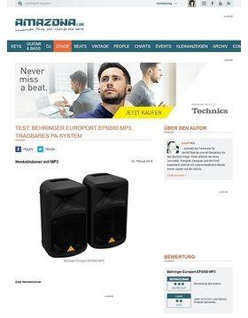 Test: Behringer Europort EPS500 MP3, tragbares PA-System