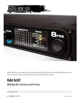 MOTU 8pre USB - Audiointerface & ADAT-Preamp
