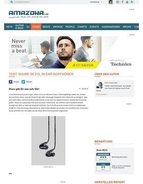 Test: Shure SE315, In-Ear-Kopfhörer