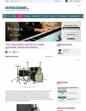 Test: Sonor Birch Infinite Kit, 4000er Hardware, Armoni Beckensatz