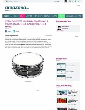 Vergleichstest: Millenium Snares 14x5,5 Power Brass, 14x5,5 Black Steel, 14x5,5 Maple