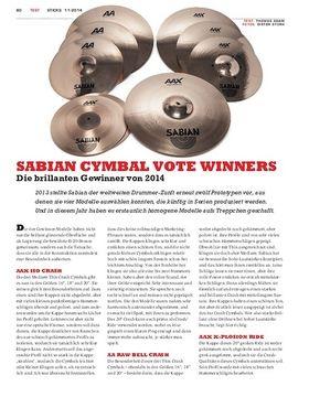 Sabian Cymbal Vote Winners
