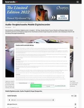 Audio-Vergleichsseite Mobile Digitalrecorder