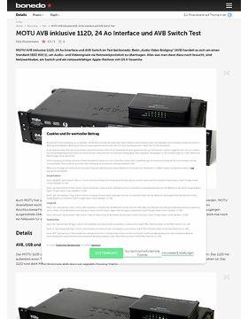 MOTU AVB inklusive 112D, 24 Ao Interface und AVB Switch