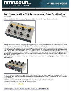 Top News: MAM MB33 Retro, Analog Bass Synthesizer