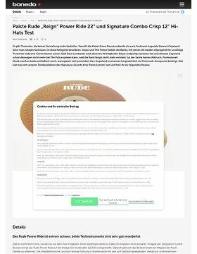 Paiste Rude Reign Power Ride 22 und Signature Combo Crisp 12 Hi-Hats