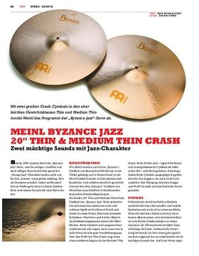 "Meinl Byzance Jazz 20"" Thin & Medium Thin Crash"