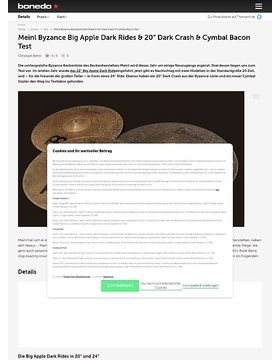 Meinl Byzance Big Apple Dark Rides, 20 Zoll Dark Crash & Cymbal Bacon