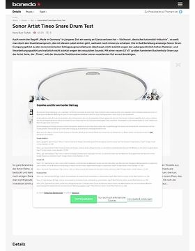 Sonor Artist Tineo Snare Drum