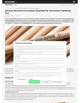 Rohema Percussion Drumsticks: Rounded Tip, Hornwood, Traditional