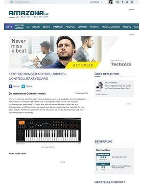 Test: Behringer Motör, USB/MIDI-Controllerkeyboard