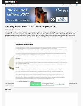 Fret King Black Label FKV25 JJ John Jorgenson