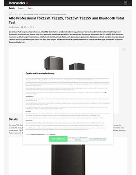 Alto Professional TS212W, TS212S, TS215W, TS215S und Bluetooth Total