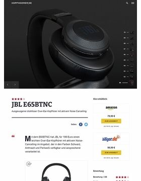 JBL by Harman E65 BTNC Black