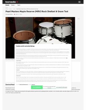 Pearl Masters Maple Reserve (MRV) Rock Shellset & Snare